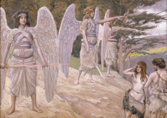 Tissot, James Jacques Joseph: Adam and Eve Driven from Paradise. Fine Art Print/Poster. Sizes: A4/A3/A2/A1 (004139)